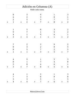 Suma en Columna, Cuatro Números de Un Dígito (A)