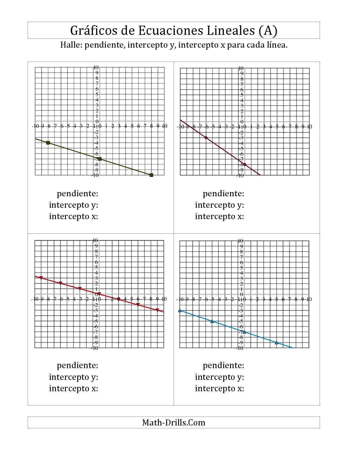 La Halla la Pendiente y el Intercepto X de un Gráfico (E) Hoja de Ejercicio de Algebra