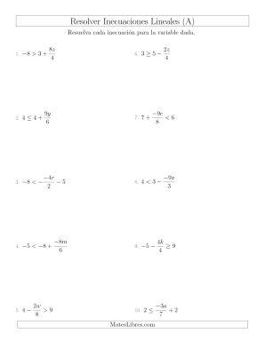 Resolver Inecuaciones que Incluyen un Tercer Término, Multiplicación y División (A)