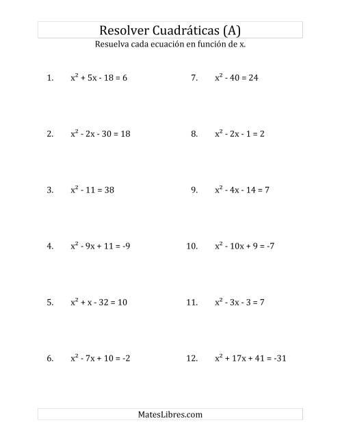 Resolver Ecuaciones Cuadráticas Iguales a Un Número Entero, con ...