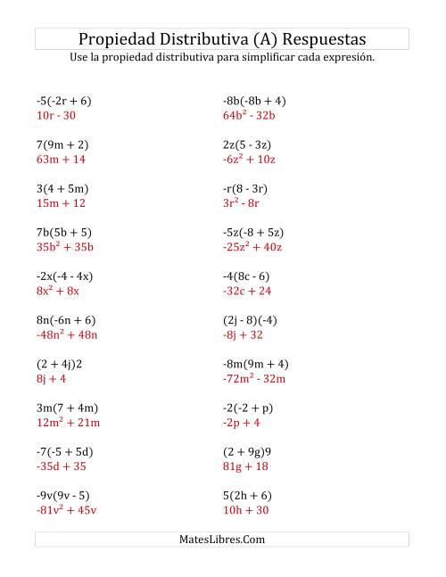 Propiedad Distributiva con Algunos Exponentes (A)