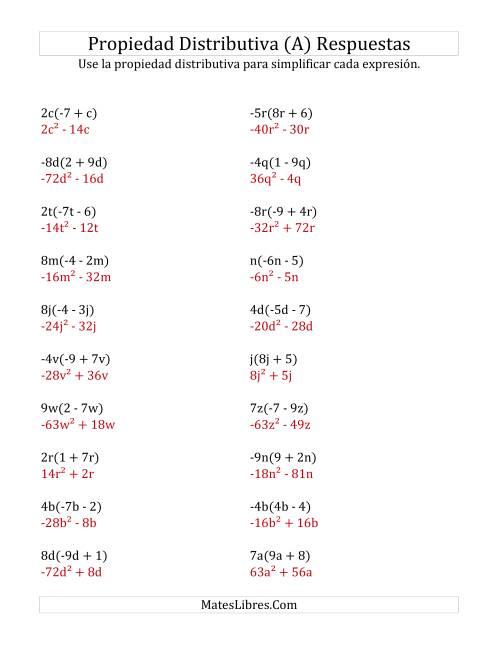 Propiedad Distributiva con Exponentes (A)