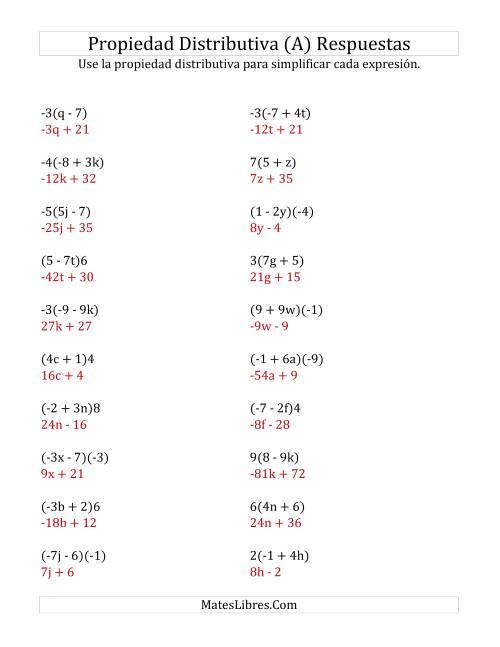Propiedad Distributiva sin Exponentes (A)