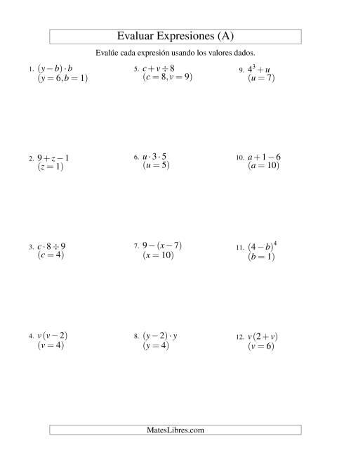 Evaluar Expresiones Algebraicas, Dos Variables, Dos Pasos (A)