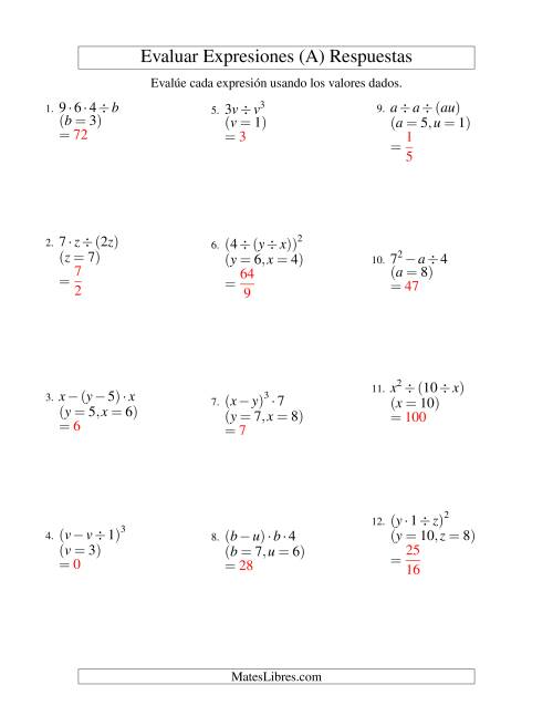 Evaluar Expresiones Algebraicas, Dos Variables, Tres Pasos (A)