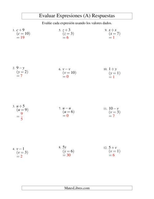 Evaluar Expresiones Algebraicas, Una Variable, Un Paso, Sin ...