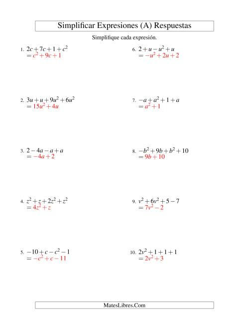 Simplificar Expresiones Algebraicas, Suma y Resta, Una Variable ...