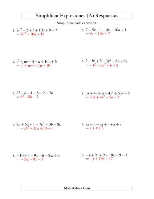 Simplificar Expresiones Algebraicas, Suma y Resta, Dos Variables ...