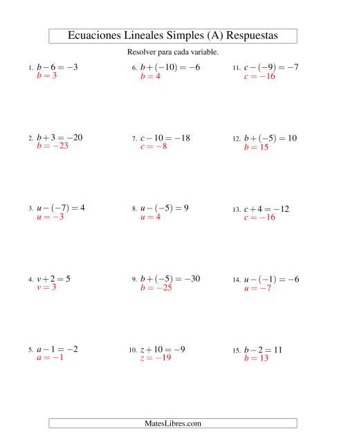 Resolver Ecuaciones Lineales de Un Paso con números Más Grandes (A)