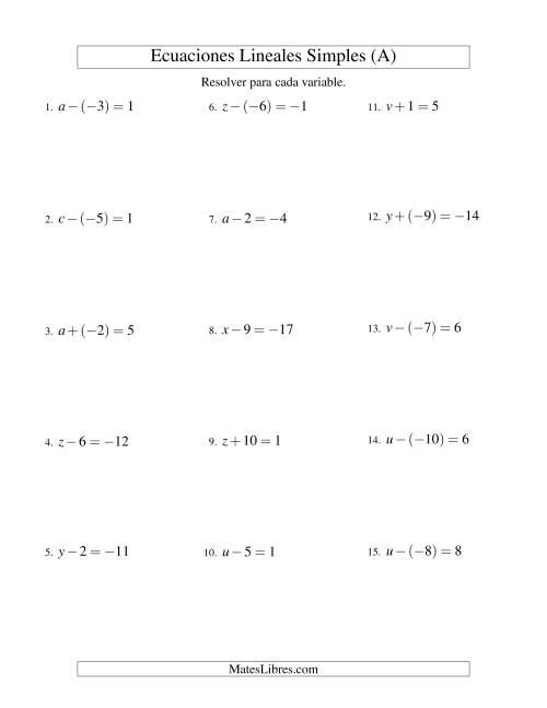 Resolver Ecuaciones Lineales De Un Paso Con Números Sencillos A