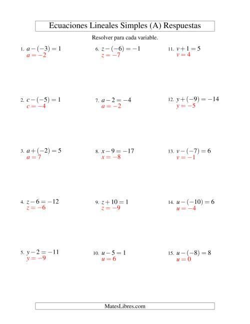 Resolver Ecuaciones Lineales de Un Paso con números Sencillos (A)