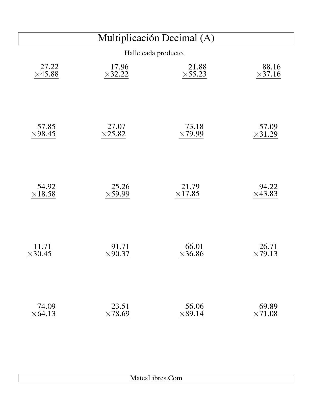 La Multiplicación de Decimales -- Centésimas de 10.01 a 99.99 (A) Hoja de Ejercicio de Decimales (USA)