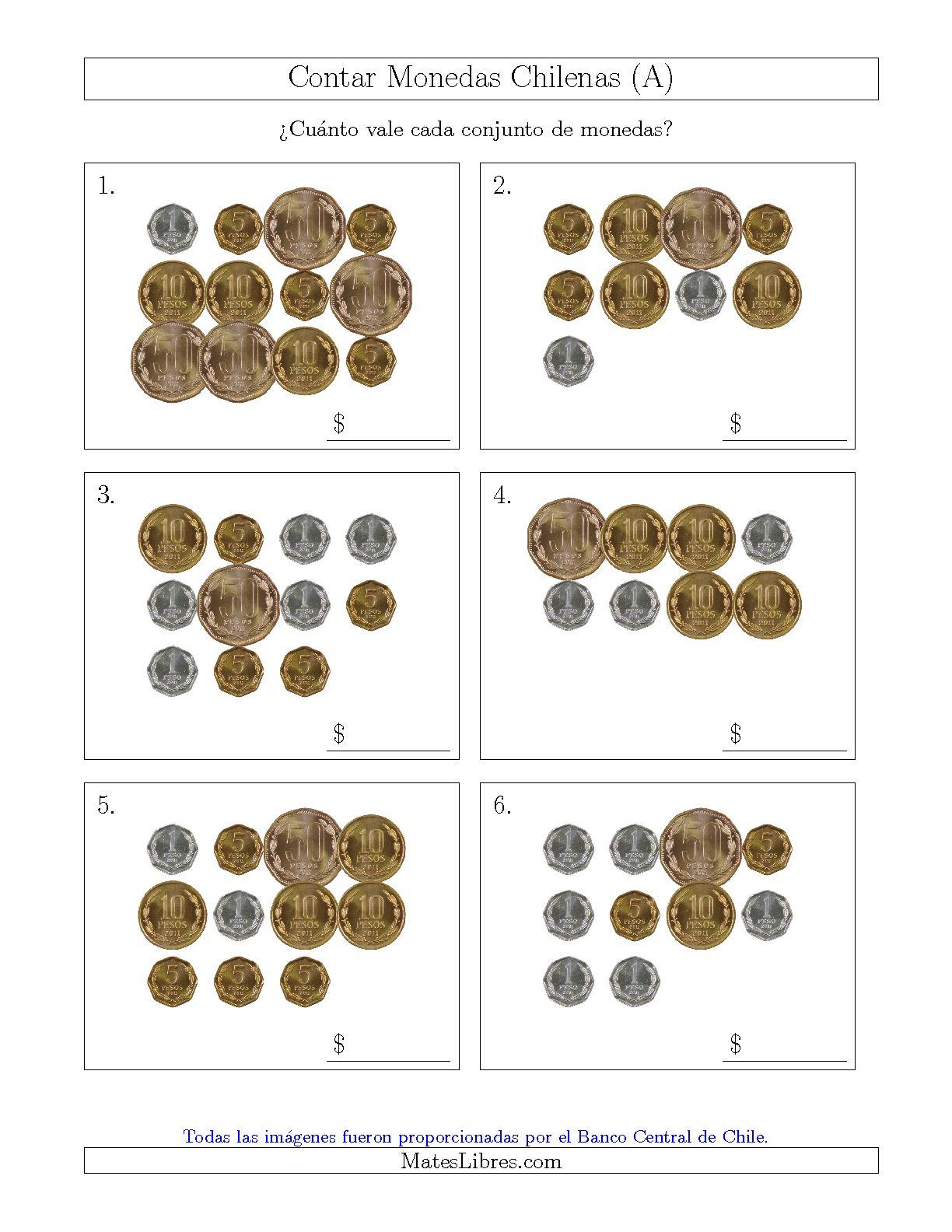 contar colecciones grandes de monedas chilenas sin monedas