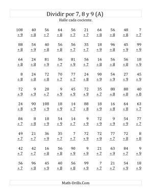 Divisiones Básicas por 7, 8 y 9 (A)
