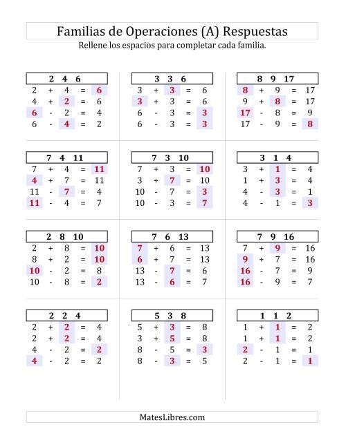 Suma y Resta hasta 18 (A)