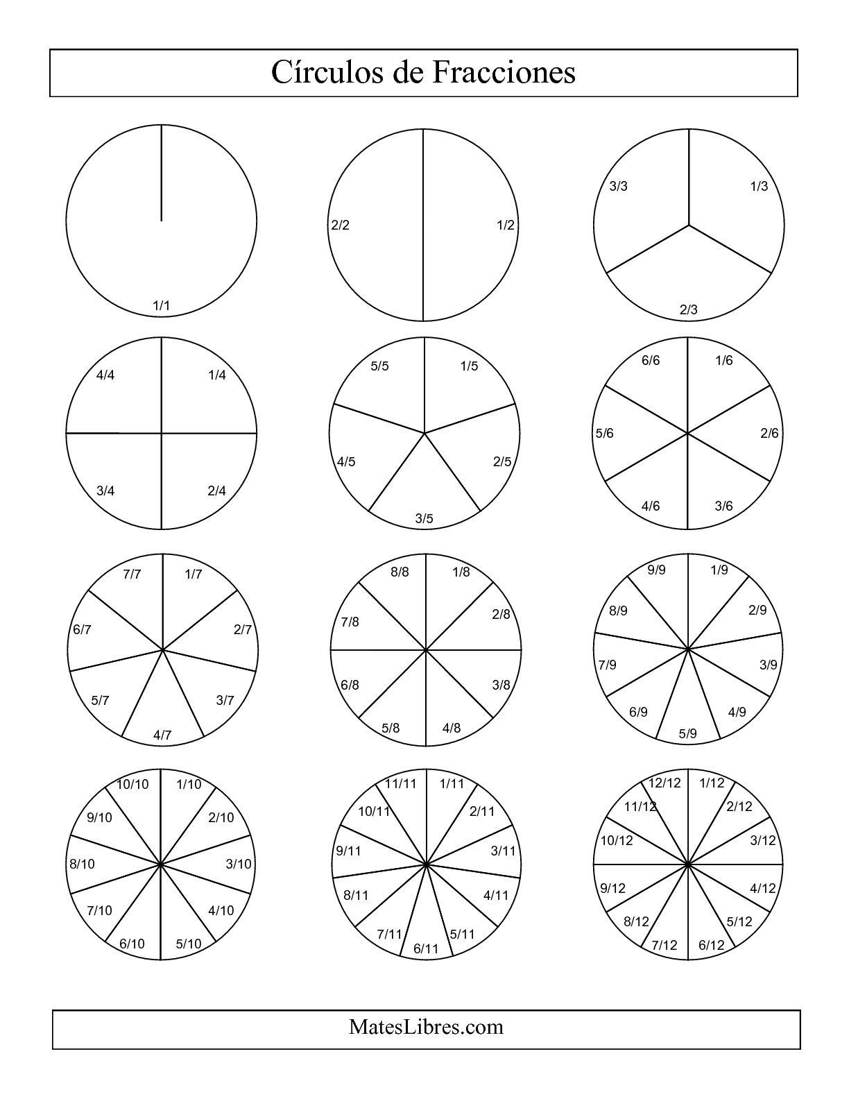 La Círculos en Blanco y Negro de Fracciones con Etiquetas (Pequeño) (F) Hoja de Ejercicio de Fracciones