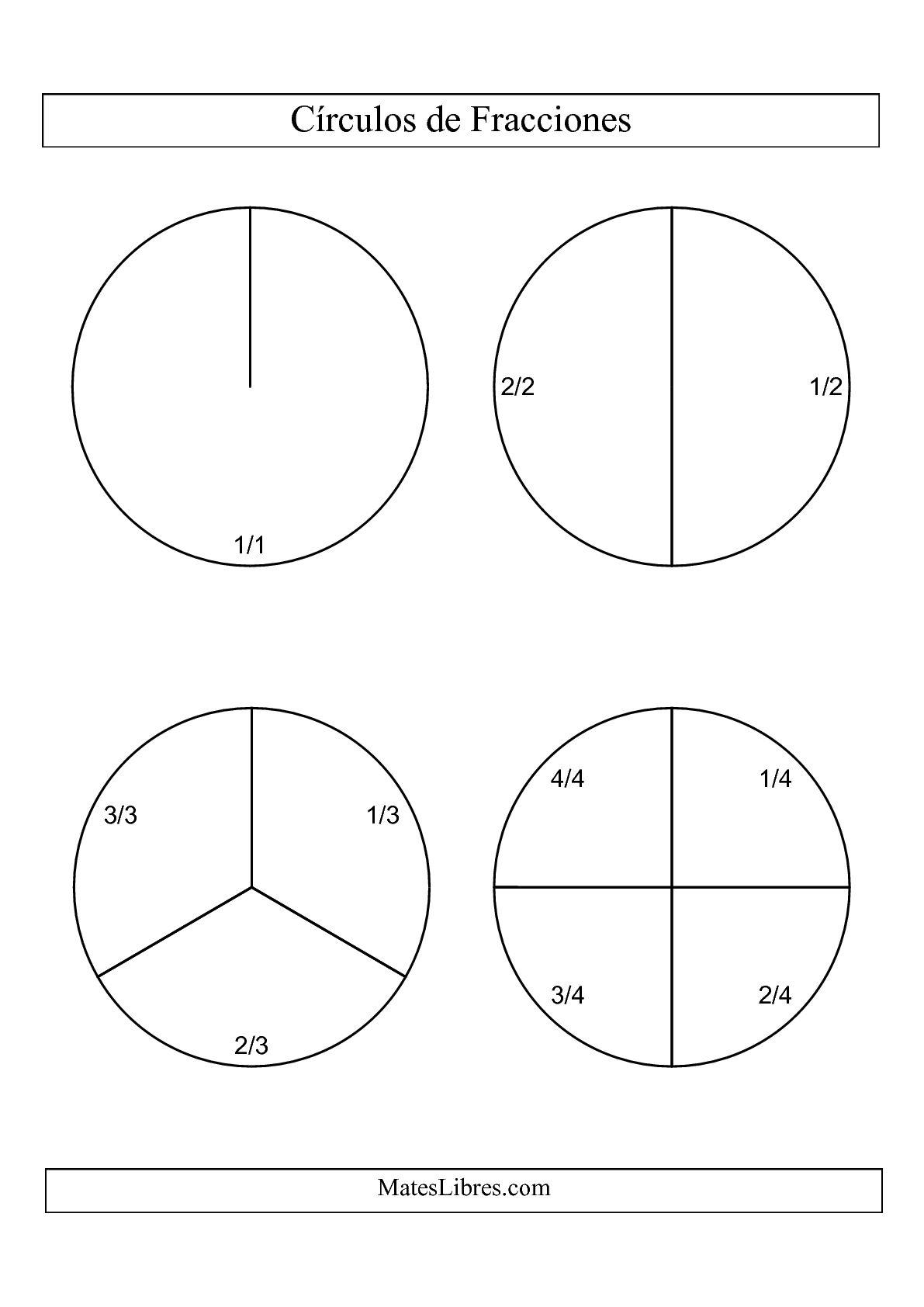 La Círculos en Blanco y Negro de Fracciones con Etiquetas (Grande) (B) Hoja de Ejercicio de Fracciones