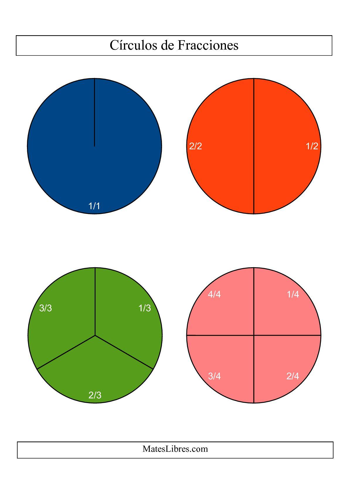 La Círculos de Colores de Fracciones con Etiquetas (Grande) (C) Hoja de Ejercicio de Fracciones