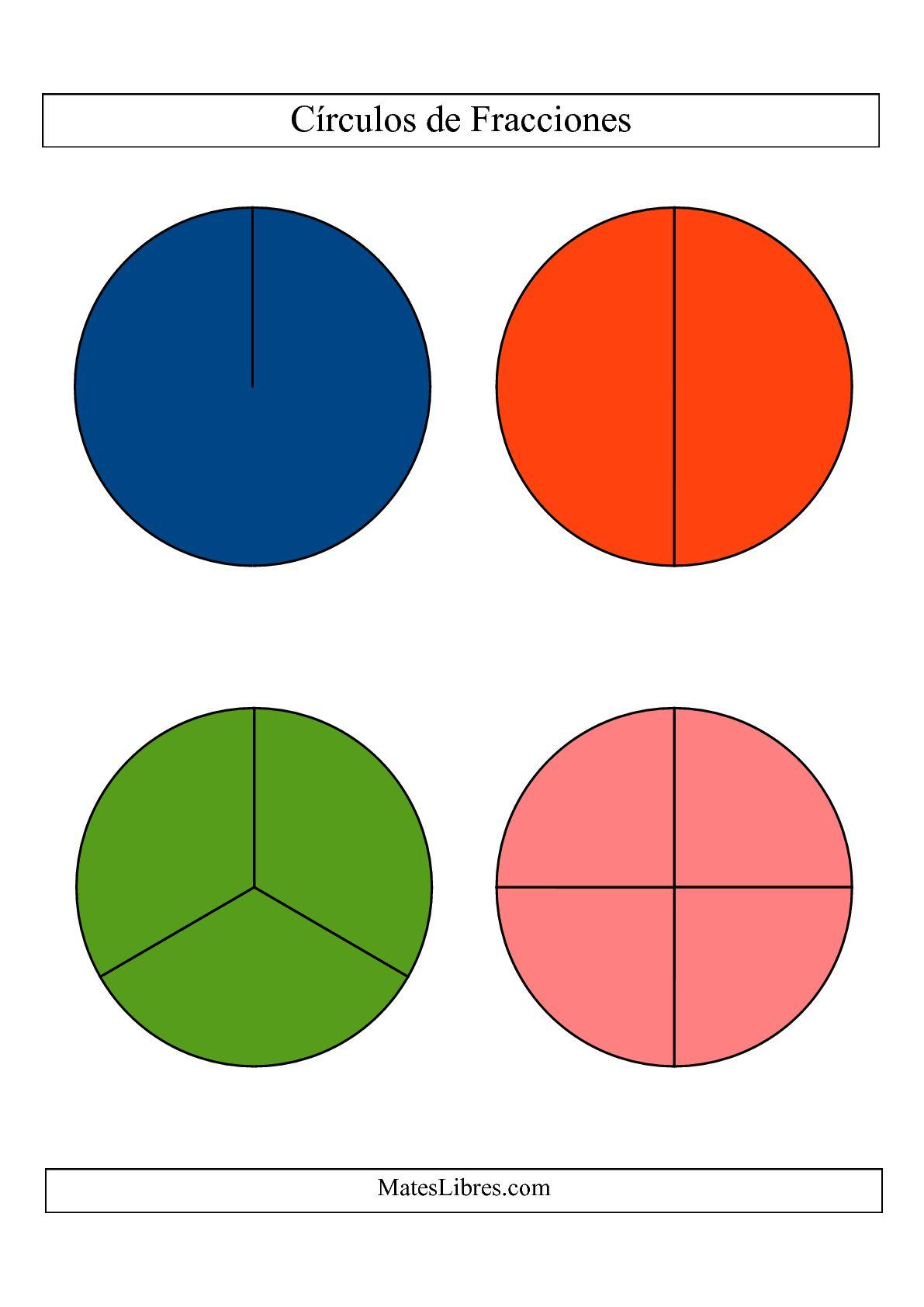 La Círculos de Colores de Fracciones sin Etiquetas (Grande) (C) Hoja de Ejercicio de Fracciones