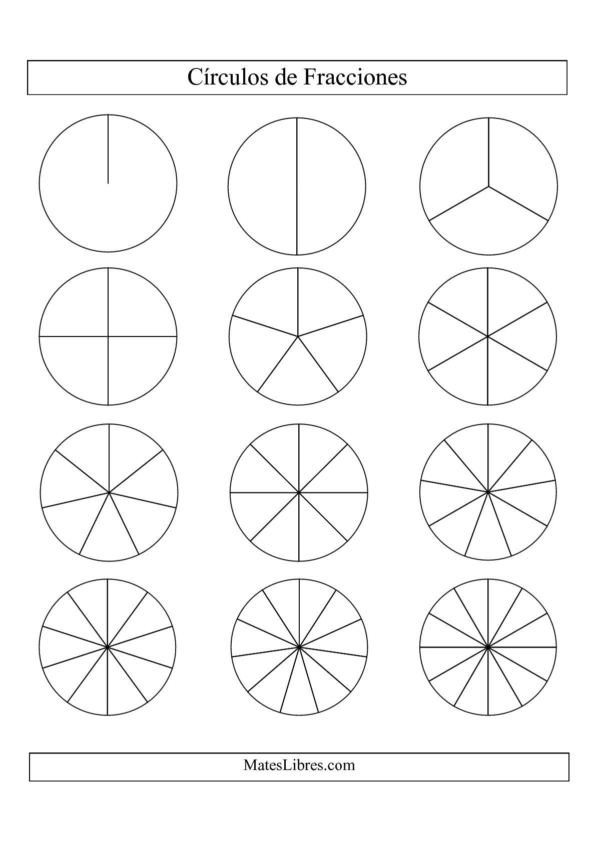 La Círculos en Blanco y Negro de Fracciones sin Etiquetas (Pequeño) (E) Hoja de Ejercicio de Fracciones