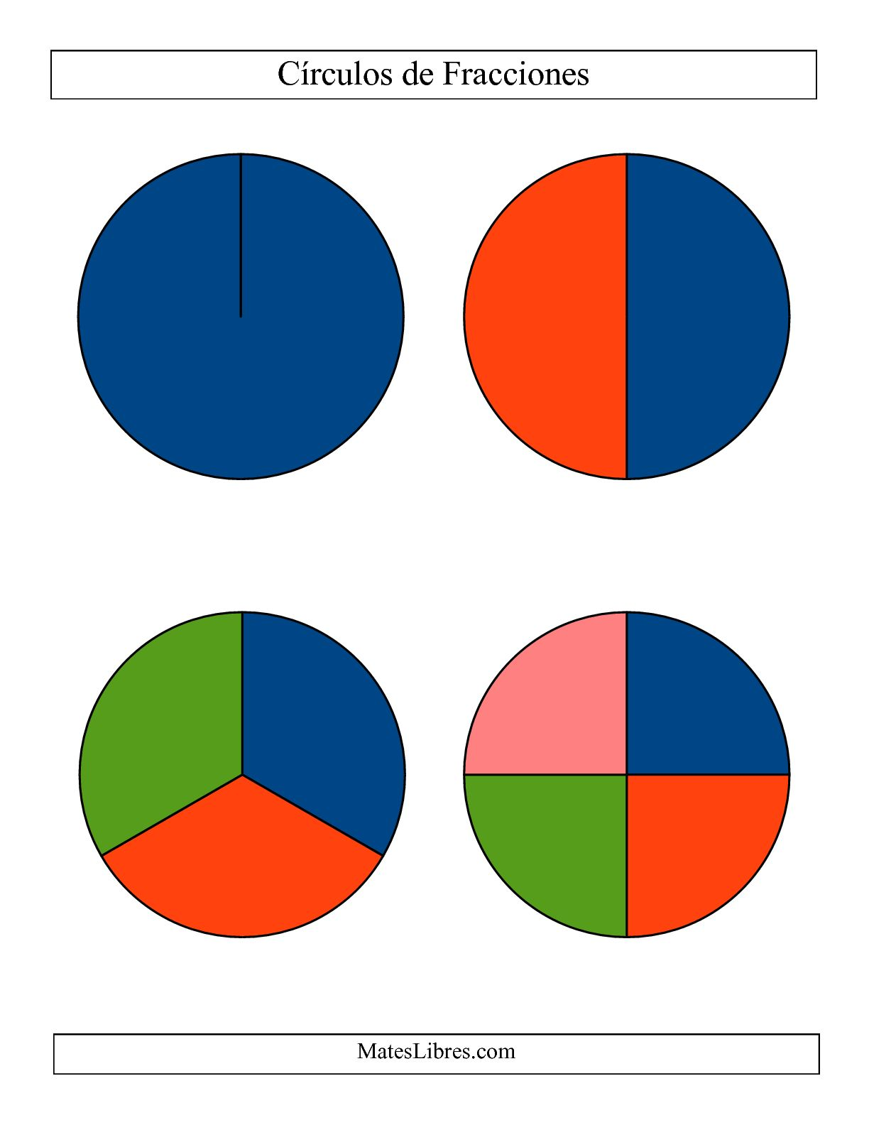La Círculos Multicolores de Fracciones sin Etiquetas (Grande) (A) Hoja de Ejercicio de Fracciones