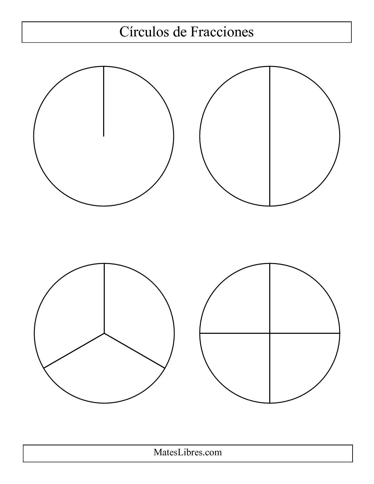 La Círculos en Blanco y Negro de Fracciones sin Etiquetas (Grande) (B) Hoja de Ejercicio de Fracciones