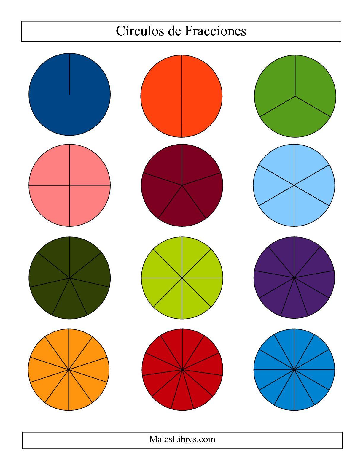 La Círculos de Colores de Fracciones sin Etiquetas (Pequeño) (F) Hoja de Ejercicio de Fracciones