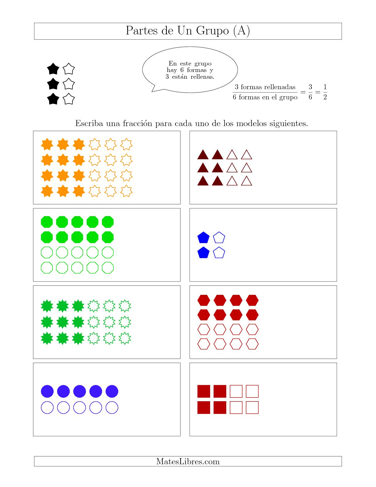 La Modelos de Fracciones de Un Grupo, hasta Mitades (A) Hoja de Ejercicio de Fracciones