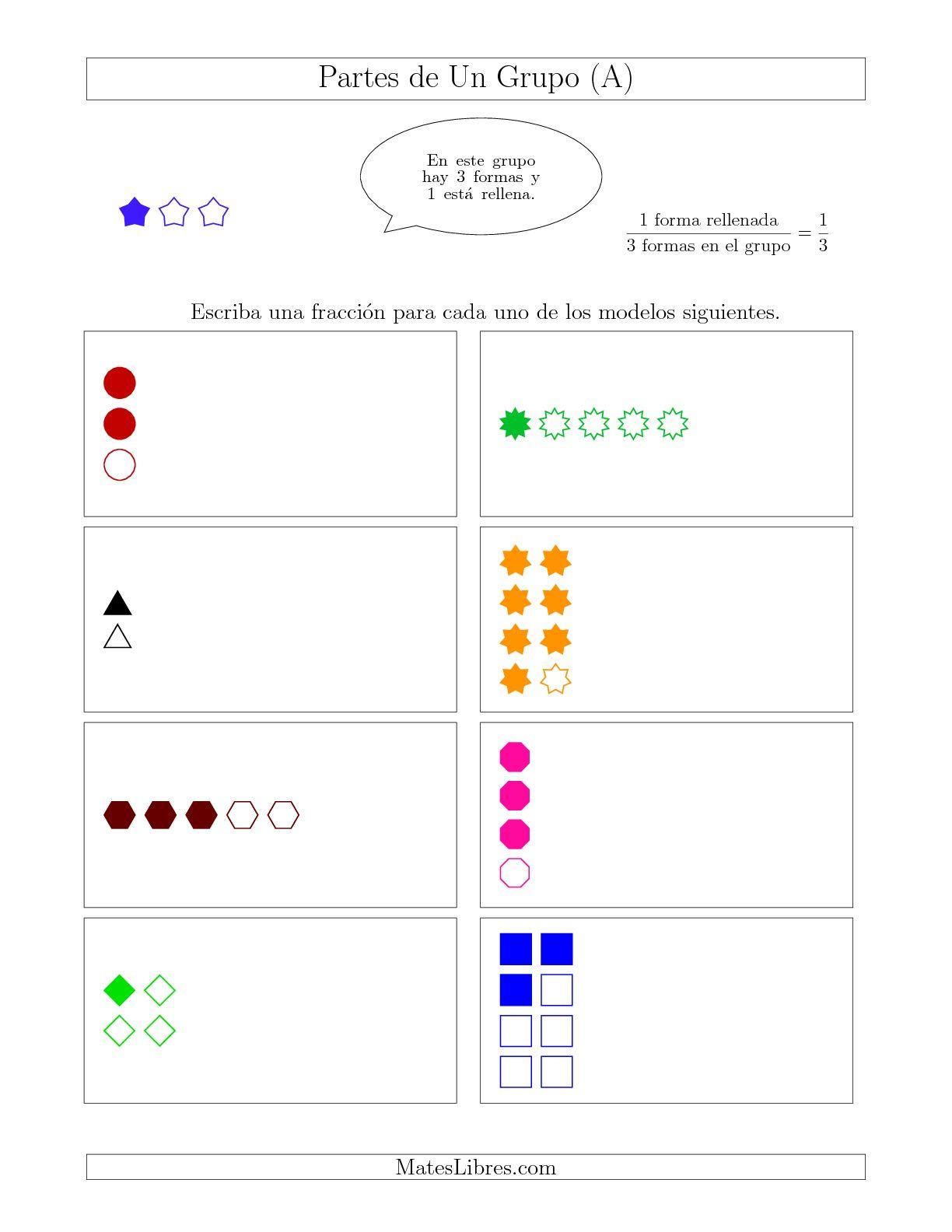 La Modelos de Fracciones Simplificadas de Un Grupo, hasta Octavos (A) Hoja de Ejercicio de Fracciones