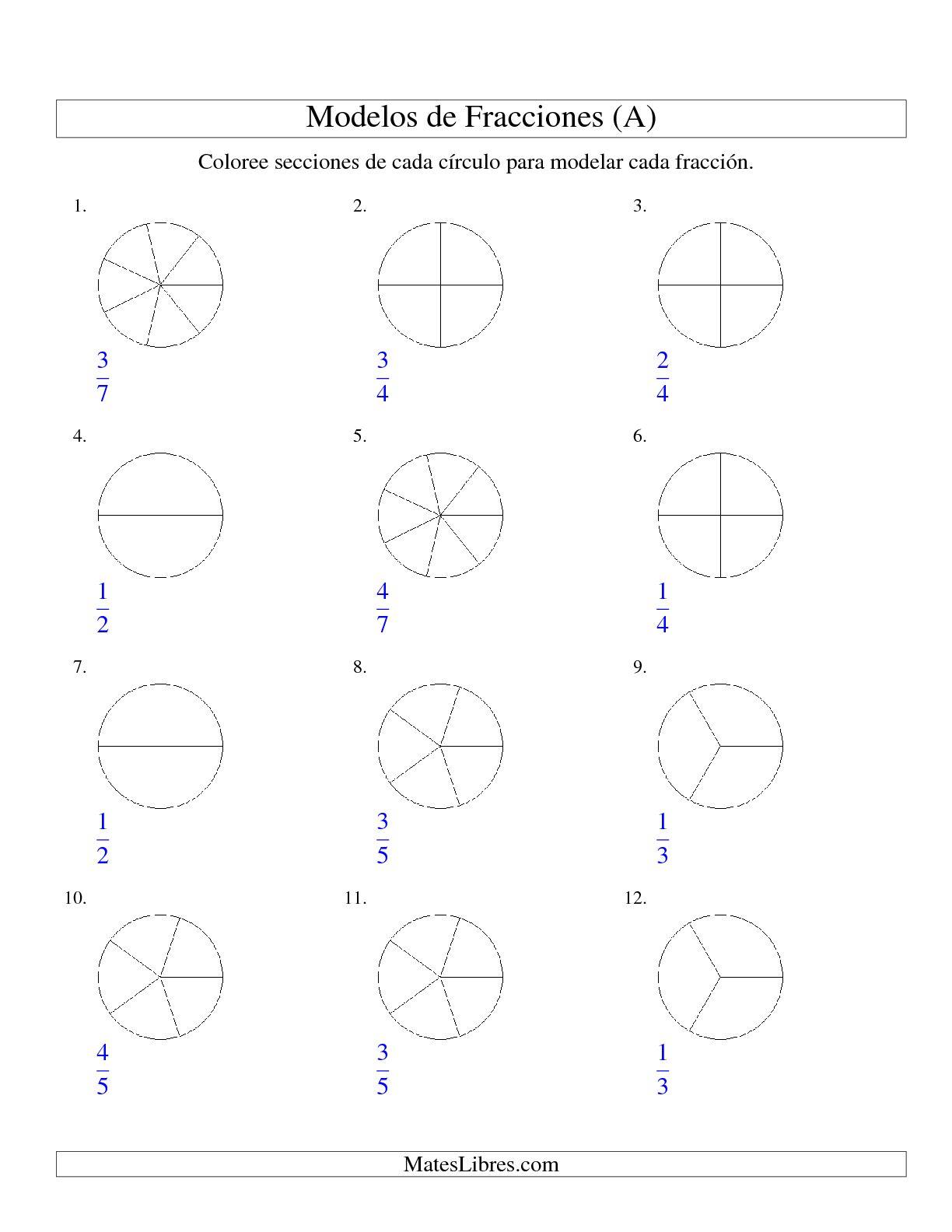 La Colorear de Mitades a Octavos de Círculos (A) Hoja de Ejercicio de Fracciones