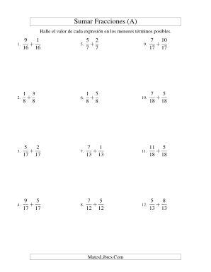 Sumar Fracciones con Denominadores Similares -- Sumar Fracciones Propias (A)