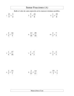 Sumar Fracciones con Denominadores Diferentes -- Sumar Fracciones Impropias con Resultado de Fracciones Mixtas (A)
