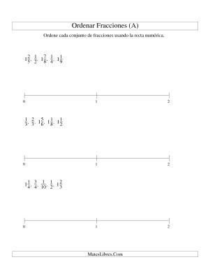 Ordenar Fracciones en una Recta Numérica, Denominadores Hasta 10 (A)