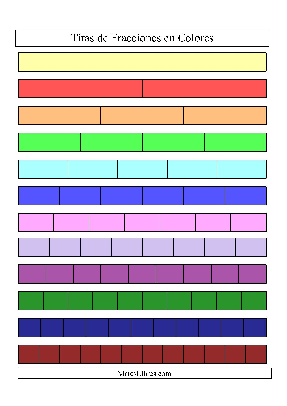 La Tiras de Fracciones a Color Hoja de Ejercicio de Fracciones
