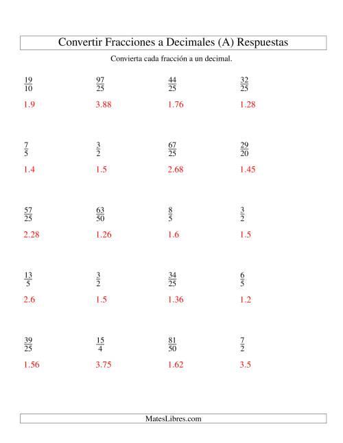 Convertir Fracciones Impropias en Decimales (A)