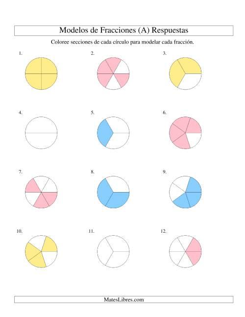 Colorear de Mitades a Sextos de Círculos (A)