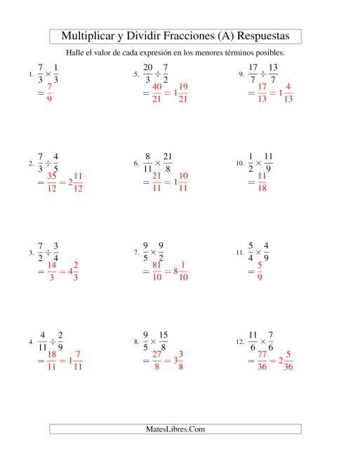 Multiplicar y Dividir Fracciones (A)