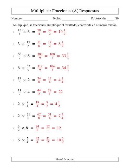 Multiplicar y Simplificar Fracciones con Algunos Números Enteros (A)