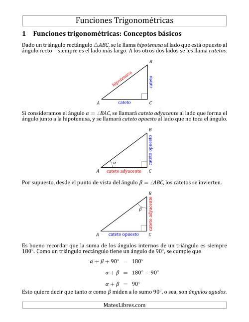Funciones Trigonométricas en Triángulos Rectángulos
