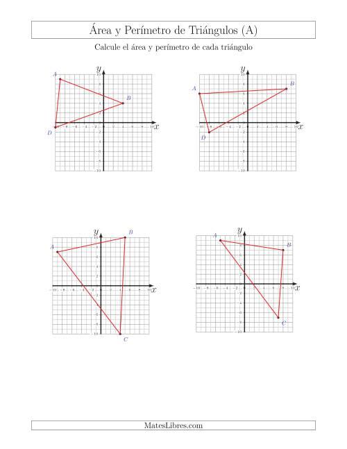 Calcular el Área y el Perímetro de Triángulos a partir de sus ...