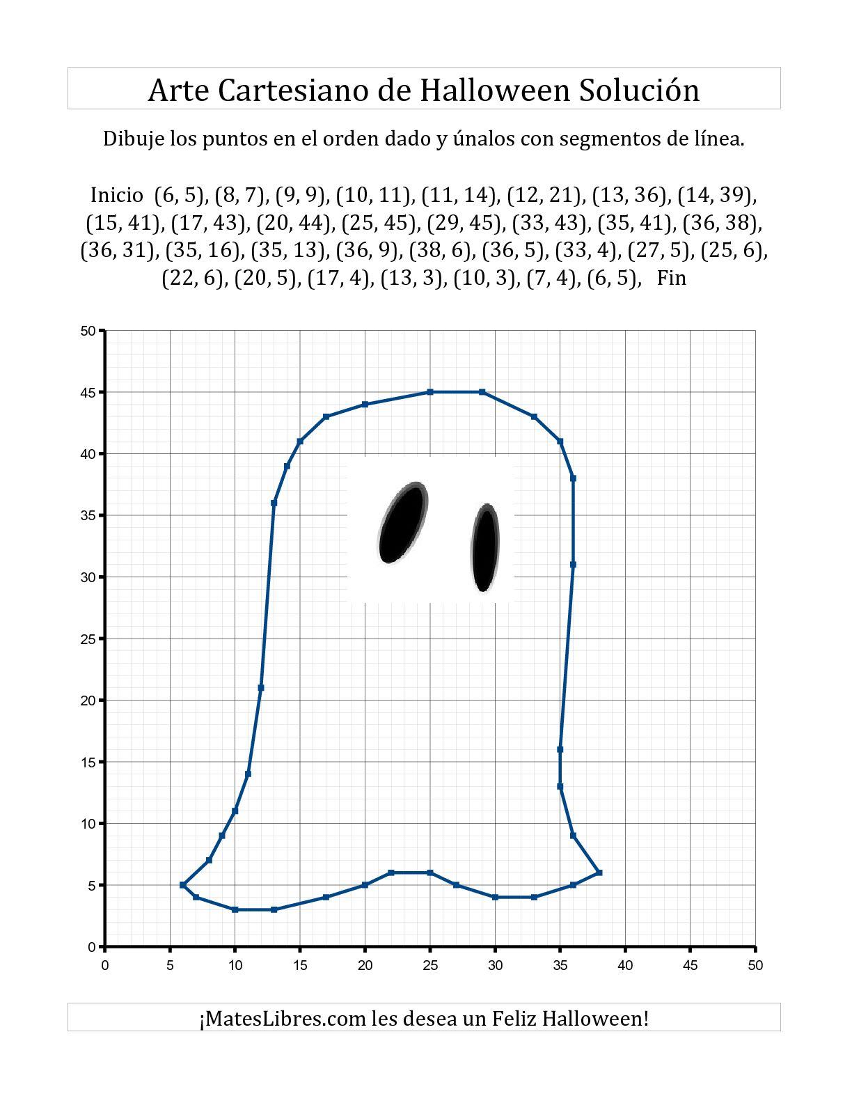 Arte Cartesiano de Halloween -- Fantasma Hojas de Ejercicios de ...