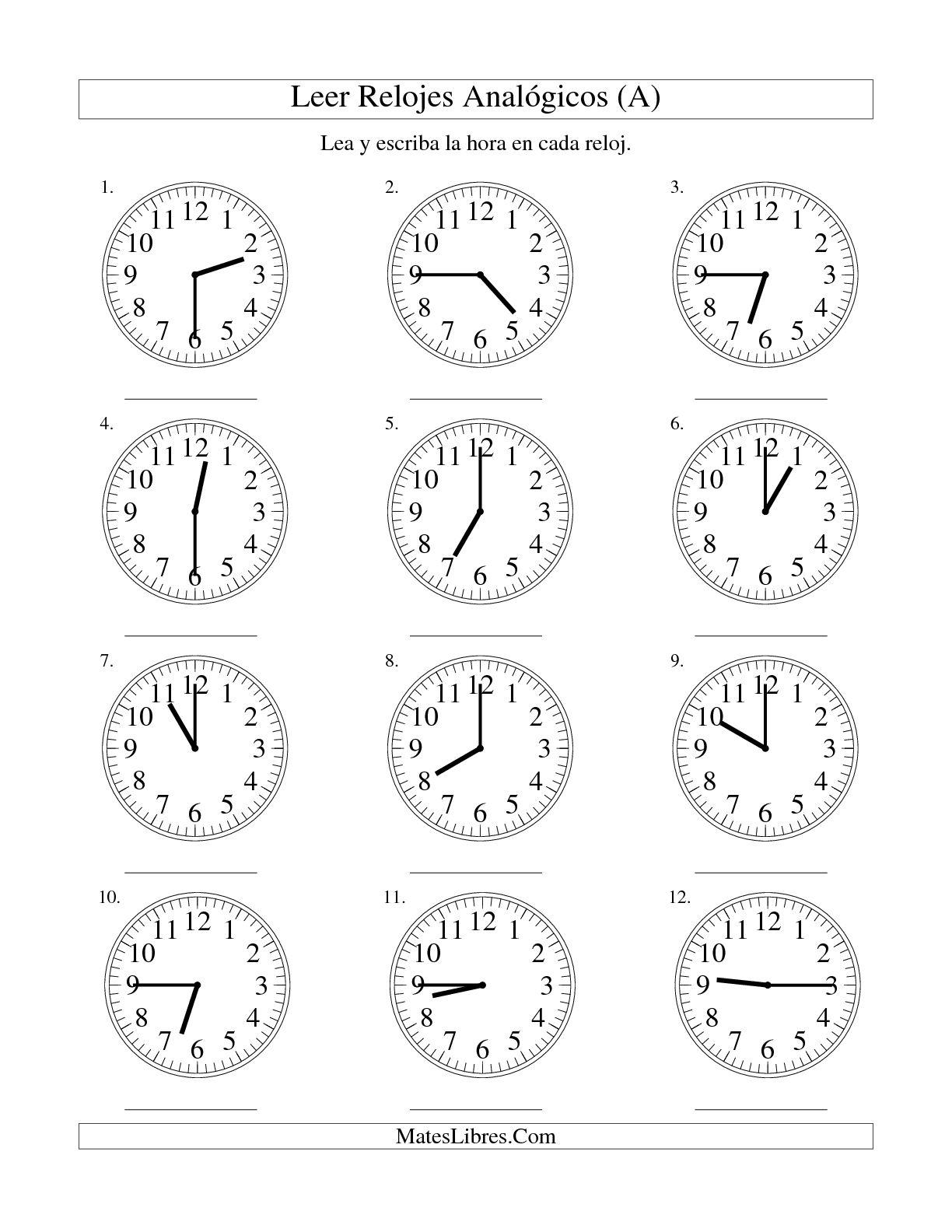 Vistoso Reloj Para Imprimir Hojas De Trabajo Para El JardÃn De ...