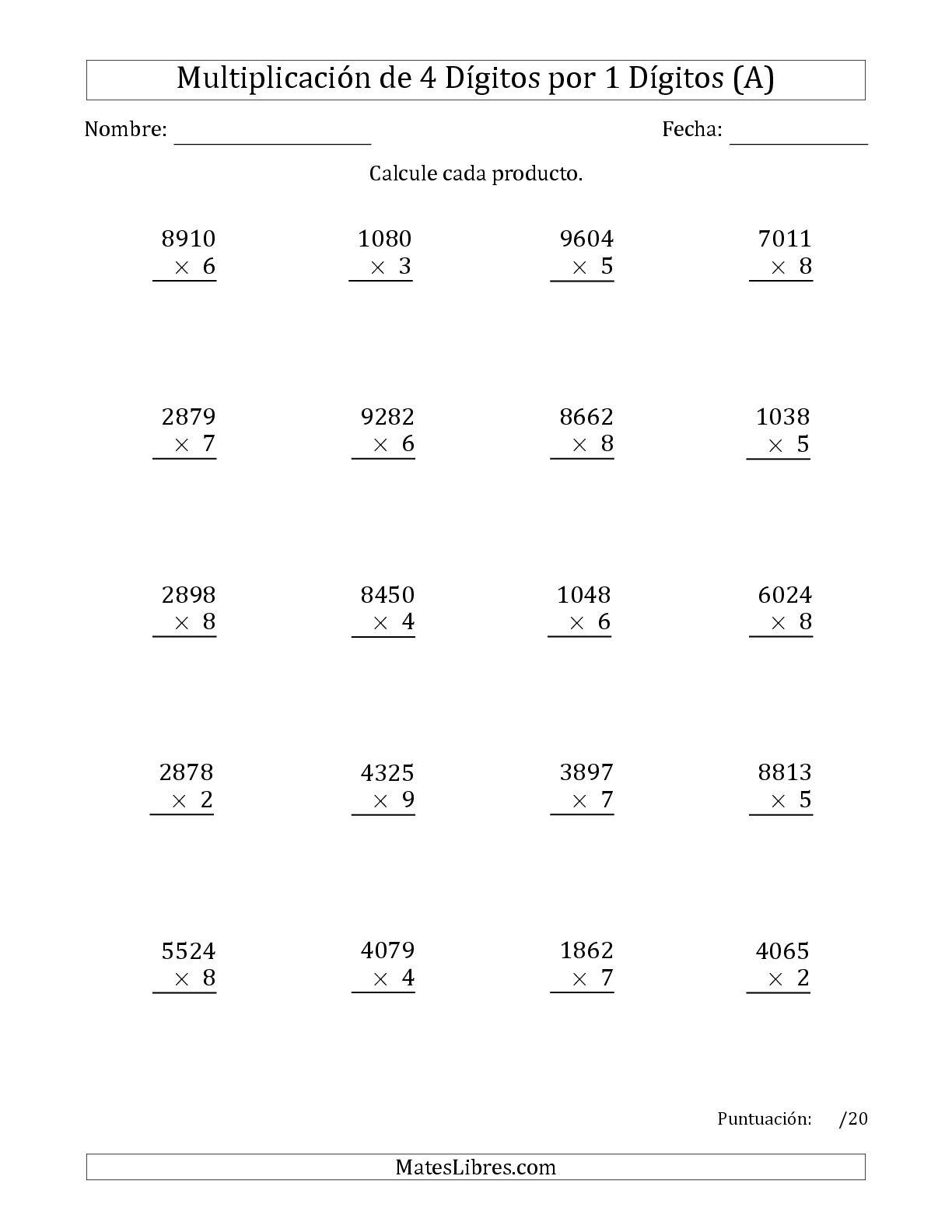 La Multiplicar Números de 4 Dígitos por 1 Dígitos (A) Hoja de Ejercicio de Multiplicación Larga