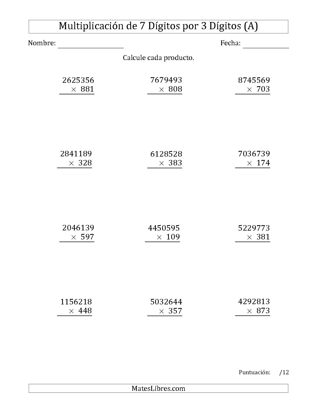 La Multiplicar Números de 7 Dígitos por 3 Dígitos (A) Hoja de Ejercicio de Multiplicación Larga