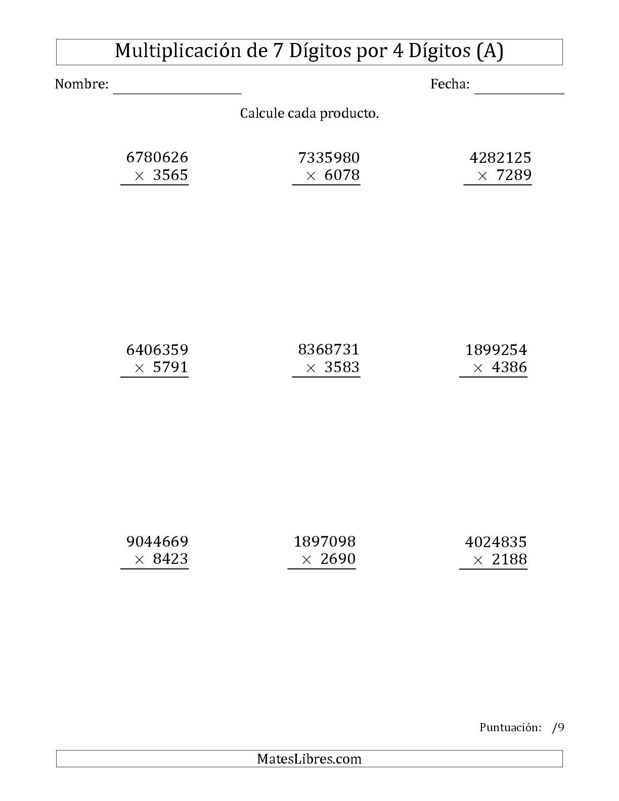 La Multiplicar Números de 7 Dígitos por 4 Dígitos (A) Hoja de Ejercicio de Multiplicación Larga