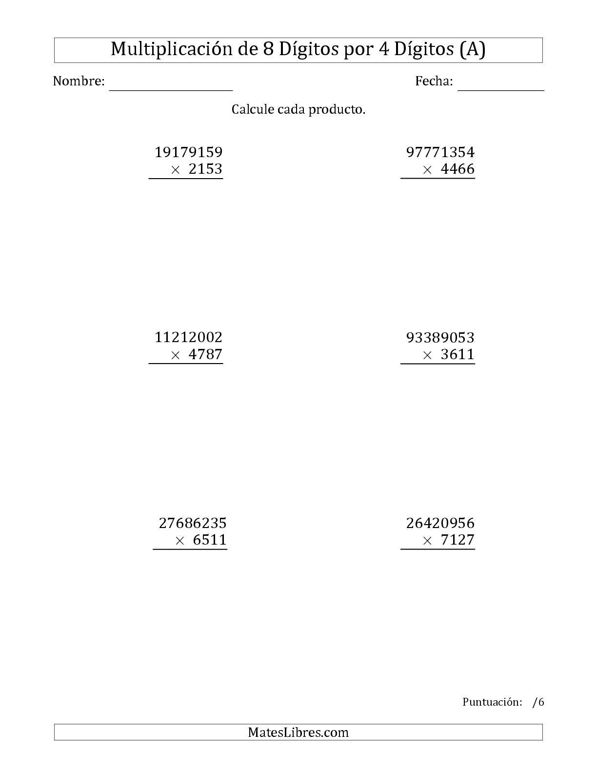 La Multiplicar Números de 8 Dígitos por 4 Dígitos (A) Hoja de Ejercicio de Multiplicación Larga