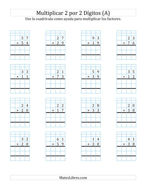 Multiplicación En Cuadrícula Dos Dígitos Por Dos Dígitos A