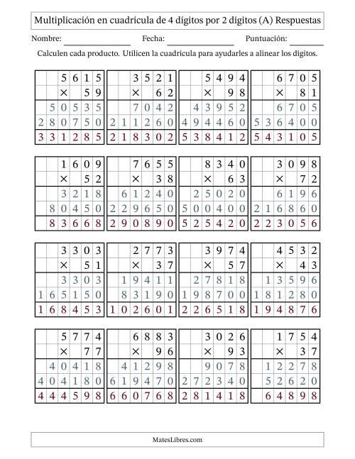Multiplicación en Cuadrícula, Cuatro Dígitos por Dos Dígitos (A)