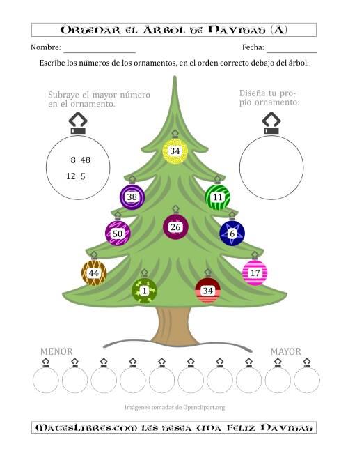 Ordenar Números de 1 a 50 en un Árbol de Navidad (A)
