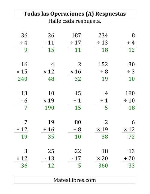 25 Ejercicios de Suma, Resta, Multiplicación y División (de 1 a 20) (A)